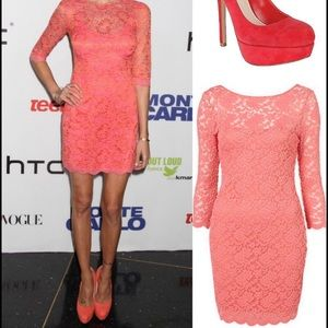 Topshop Lace Bodycon Dress in Salmon